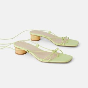 NEW zara thin strap strappy heeled leather sandals